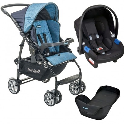 Carrinho de Bebê Burigotto Rio K Reversível Azul + Bebê Conforto Touring X Preto + Ninho Neonato