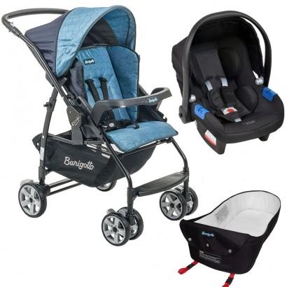 Carrinho de Bebê Burigotto Rio K Reversível Azul + Bebê Conforto Touring X Preto + Ninho Pramete