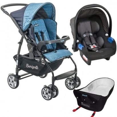 Carrinho de Bebê Burigotto Rio K Reversível Azul + Bebê Conforto Touring X Cinza + Ninho Pramete