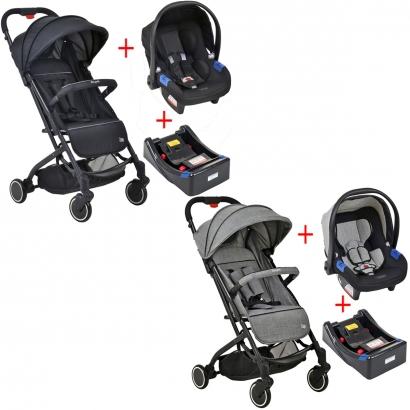 Carrinho de Bebê Burigotto Zap para Passeio Compacto Reclinavel De 0 a 15kg + Bebê Conforto Touring X De 0 a 13kg + Base para Carro Burigotto