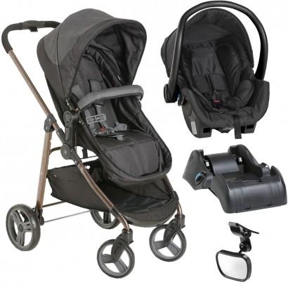 Carrinho de Bebê Galzerado Olympus Black + Bebê Conforto Black + Base Cocoon + Retrovisor Espelho