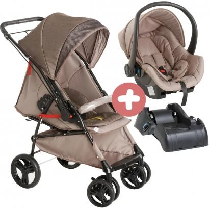 Carrinho de Bebê Galzerano Passeio 2 em 1 Reversivel 0 Até 15 Kg 4 Posições Maranello II Galzerano Caramello + Bebê Conforto Cocoon Cappuccino + Base