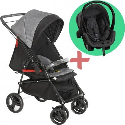 Carrinho de Bebê Galzerano Passeio 2 em 1 Reversivel 0 Até 15 Kg 4 Posições Maranello II Galzerano Preto + Bebê Conforto Cocoon Black