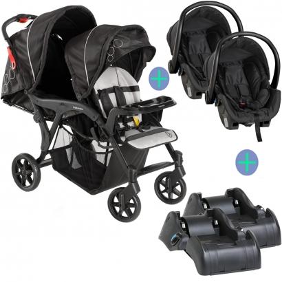 Carrinho de Bebê Gêmeos Denver Duo Reclinável De 6M a 15Kg Galzerano + Bebê Conforto Cocoon + Base para Carro