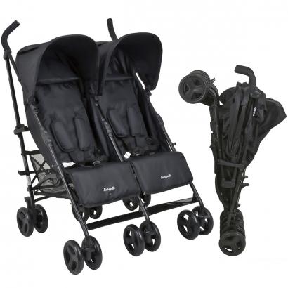 Carrinho de Bebê Gemêos Guarda Chuva Reclinavel 0 Até 15 Kg Twingo Burigotto Black