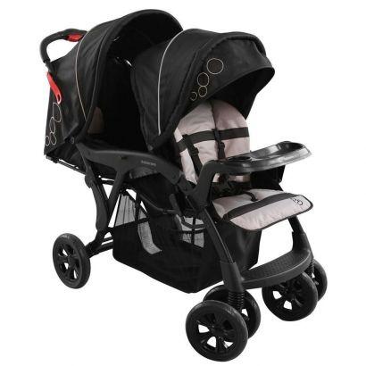 Carrinho De Bebê Para Gemeos Galzerano Doppio Preto 1385PT