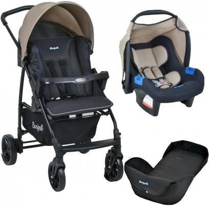 Carrinho de Bebe Para Passeio Até 15Kg Ecco Burigotto Bege + Bebê Conforto Touring X + Ninho Neonato