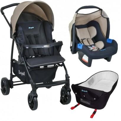 Carrinho de Bebe Para Passeio Até 15Kg Ecco Burigotto Bege + Bebê Conforto Touring X + Ninho Pramete