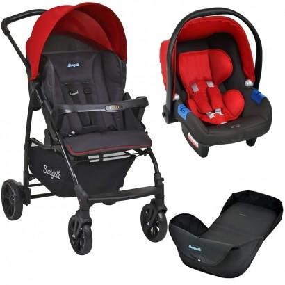 Carrinho de Bebe Para Passeio Até 15Kg Ecco Burigotto Vermelho + Bebê Conforto Touring X + Ninho Neonato
