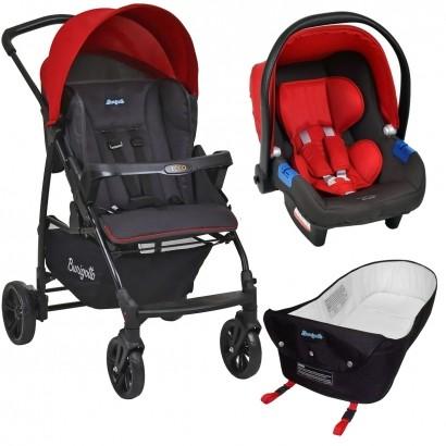 Carrinho de Bebe Para Passeio Até 15Kg Ecco Burigotto Vermelho + Bebê Conforto Touring X + Ninho Pramete