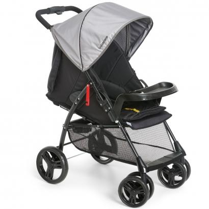 Carrinho de Bebê Passeio 2 em 1 Até 15kg Acopla Bebê Conforto Reclinavel San Remo Galzerano Preto Grey