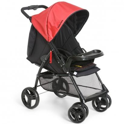 Carrinho de Bebê Passeio 2 em 1 Até 15kg Acopla Bebê Conforto Reclinavel San Remo Galzerano Preto Vermelho