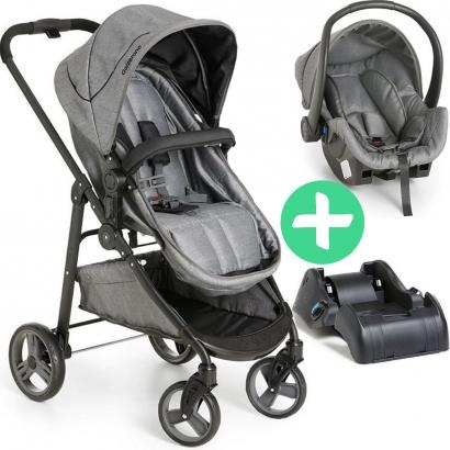 Carrinho de Bebê Passeio 3 em 1 Nascimento Até 15Kg Tavel System Berço Moises Olympus Galzerano Grafite + Bebê Conforto Cocoon + Base