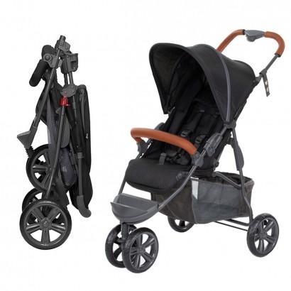 Carrinho de Bebê Passeio Reclinavel 4 Posições Função Berço 6 Meses Até 15 Kg Moving Light Woven Black Com Couro Abc Design