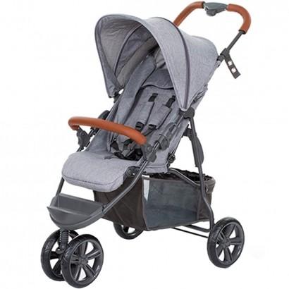 Carrinho de Bebê Passeio Reclinavel 4 Posições Função Berço 6 Meses Até 15 Kg Moving Light Woven Grey Com Couro Abc Design