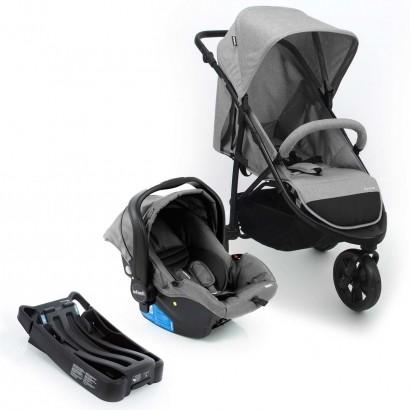 Carrinho de Bebe Travel System Collina Trio Grey Infanti + Bebe conforto + Base