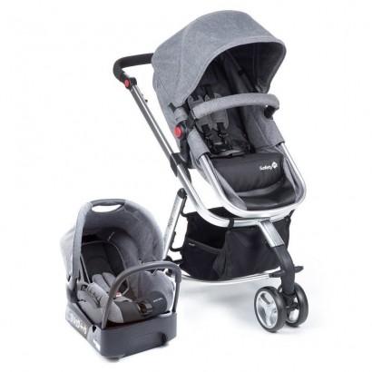 Carrinho de Bebê Travel System Mobi Grey Denim Silver + Bebê Conforto + Base