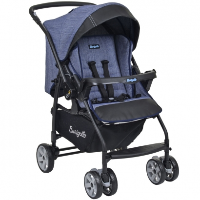 Carrinho de Bebê Travel System Reclinável Reversível De Recém Nascido até 15kg Rio K Mesclado Azul - Burigotto