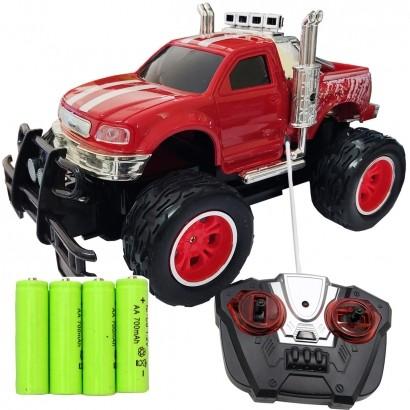 Carrinho De Controle Remoto Brinquedo Criança Infantil Caminhonete Com Pilhas Recarregáveis Vermelho Importway