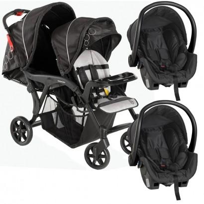 Carrinho de Gêmeos Denver Duo Preto De 6 Meses a 15 Kg Galzerano + Bebê Conforto Cocoon 8181BL