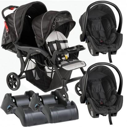 Carrinho de Gêmeos Denver Duo Preto De 6 Meses a 15 Kg Galzerano + Bebê Conforto Cocoon 8181BL + Base