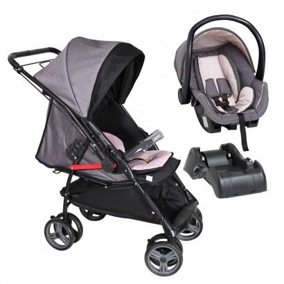 Carrinho De Passeio Bebê Maranello II Rosa/Preto Até 15 Kg + Bebê Conforto PGRR + Base Galzerano