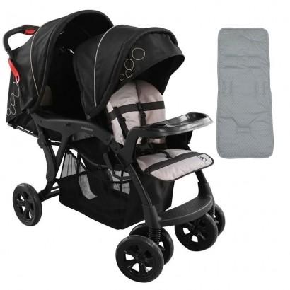 Carrinho Doppio Preto Para Gêmeos 1385PT + Capa Para Carrinho De Bebê Estrela Cinza