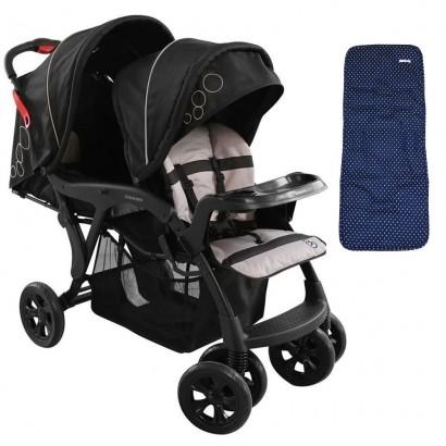 Carrinho Doppio Preto Para Gêmeos 1385PT + Capa Para Carrinho De Bebê Estrela Marinho