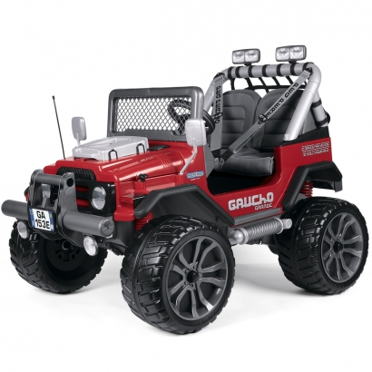Carrinho Elétrico Jeep Infantil +3 Anos Gaucho Vermelho 12V Duas Marchas Peg Perego