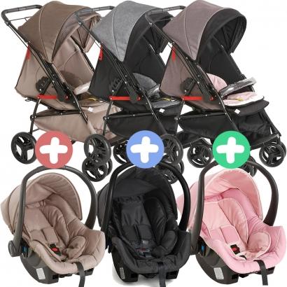 Carrinho Para Bebê Passeio 2 em 1 Reclinavel Maranello II Galzerano + Bebê Conforto Cocoon Até 13kg