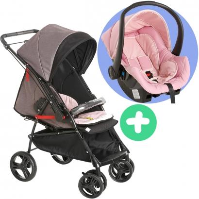 Carrinho de Bebê Galzerano Passeio 2 em 1 Reversivel 0 Até 15 Kg 4 Posições Maranello II Galzerano Preto + Bebê Conforto Cocoon Black + Base