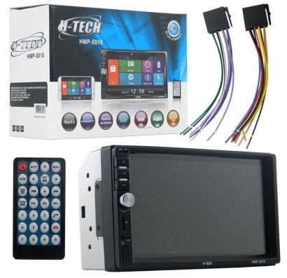 Central Multimídia Dvd 2 Din USB Sd Aux Bluetooth e Espelhameto H-Tech HMP-5010