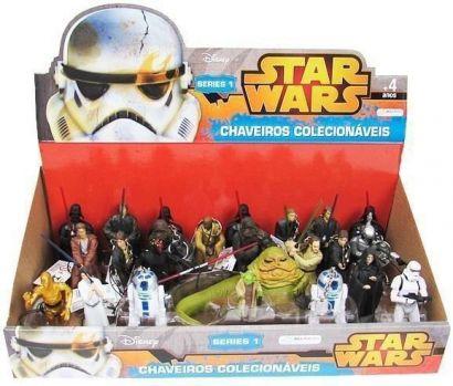 kit 24 Bonecos Chaveiro Star Wars Display Coleção Completa BR349