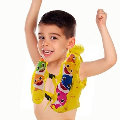 Colete Inflável Infantil Baby Shark Piscina Praia Para Crianças +3 Anos - Toyng