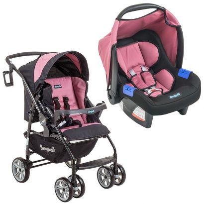 Conjunto Burigotto Carrinho de Bebê AT6 K Com Bebê Conforto Touring Evolution SE Preto e Rosa IXCJ4015PR05
