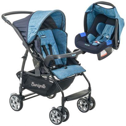 Conjunto Burigotto Carrinho de Bebê Rio K Reversível Azul com Bebê Conforto Touring Evolution Azul IXCJ4016PR55
