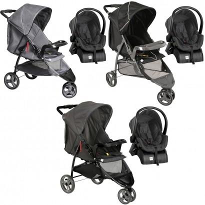 Conjunto Carrinho Bebê Passeio Berço Cross Trail De 0 a 15kg com Bebê Conforto Cocoon De 0 a 13kg e Base para Carro - Galzerano