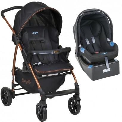 Conjunto Carrinho de Bebê Ecco Preto Cobre Travel System com Bebê Conforto Touring e Base para Auto - Burigotto