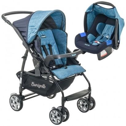 Conjunto Carrinho de Bebê Rio K Reversível Azul + Bebê Conforto Touring SE GEO Azul