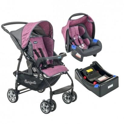 Conjunto Carrinho de Bebê Rio K Reversível Rosa + Bebê Conforto Touring SE GEO Rosa + Base Burigotto