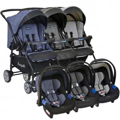 Conjunto Carrinho de Bebê Travel System Reclinável Reversível Rio K De 0 a 15kg com Bebê Conforto Touring X De 0 a 13kg Burigotto