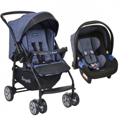 Conjunto Carrinho de Bebê Travel System Reclinável Reversível Rio K Mesclado Azul De 0 a 15kg com Bebê Conforto Touring X De 0 a 13kg - Burigotto
