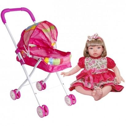 Conjunto Infantil Carrinho de Boneca Dobrável + Boneca Baby Kiss Loira A Partir de +3 Anos