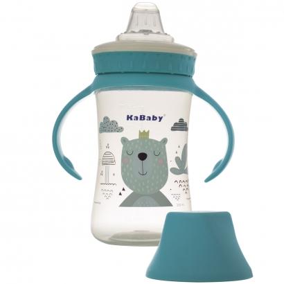 Copo de Bebê Mamadeira Com Bico de Silicone e Alças 250ml +6 Meses Kababy Azul