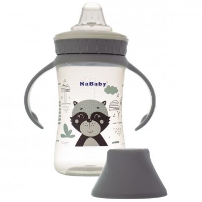 Copo de Bebê Mamadeira Com Bico de Silicone e Alças 250ml +6 Meses Kababy Cinza