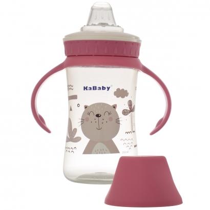 Copo de Bebê Mamadeira Com Bico de Silicone e Alças 250ml +6 Meses Kababy Rosa