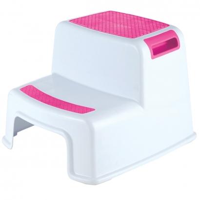Degrau Escadinha Infantil Bebê Aderente Antiderrapante Para Banheiro New Style Kababy Rosa