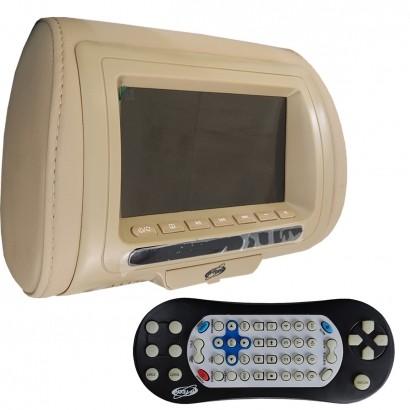 Encosto de Cabeça 7 Polegadas LCD USB SD Card MP3 MP4 H-Tech Bege