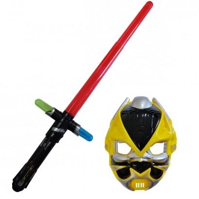 Espada e Mascara Brinquedo Infantil Criança Herois Com Som E Luz