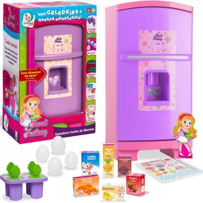 Geladeira Brinquedo Criança Infantil Sonho de Menina Rosa/Lilás Sweet Fantasy Cardoso Toys